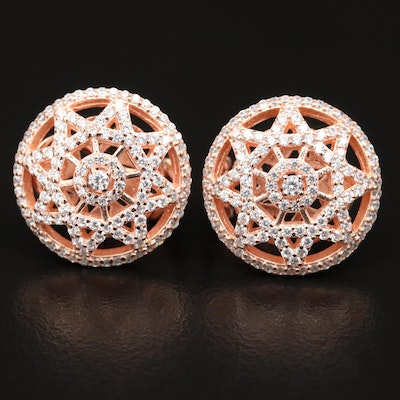 Sterling Silver Cubic Zirconia Openwork Earrings Featuring Geometric Design