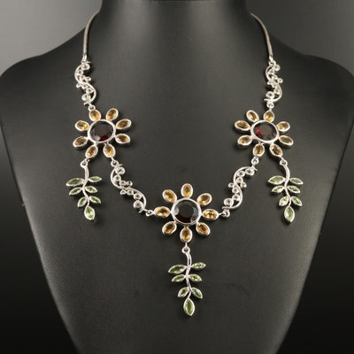 Mixed Gemstone Sunflower Necklace in Sterling