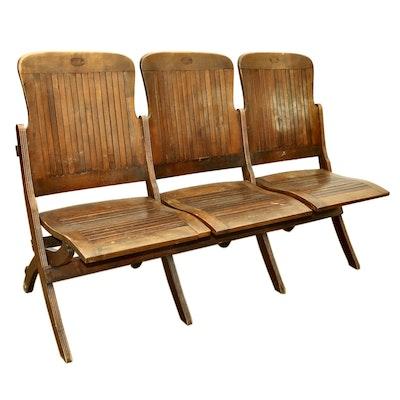 Oak Wood Fold Up Three-Seat Slatted Auditorium Chairs