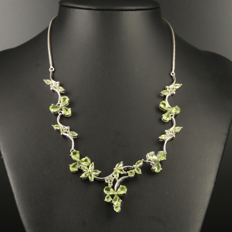 Sterling Peridot Floral Necklace