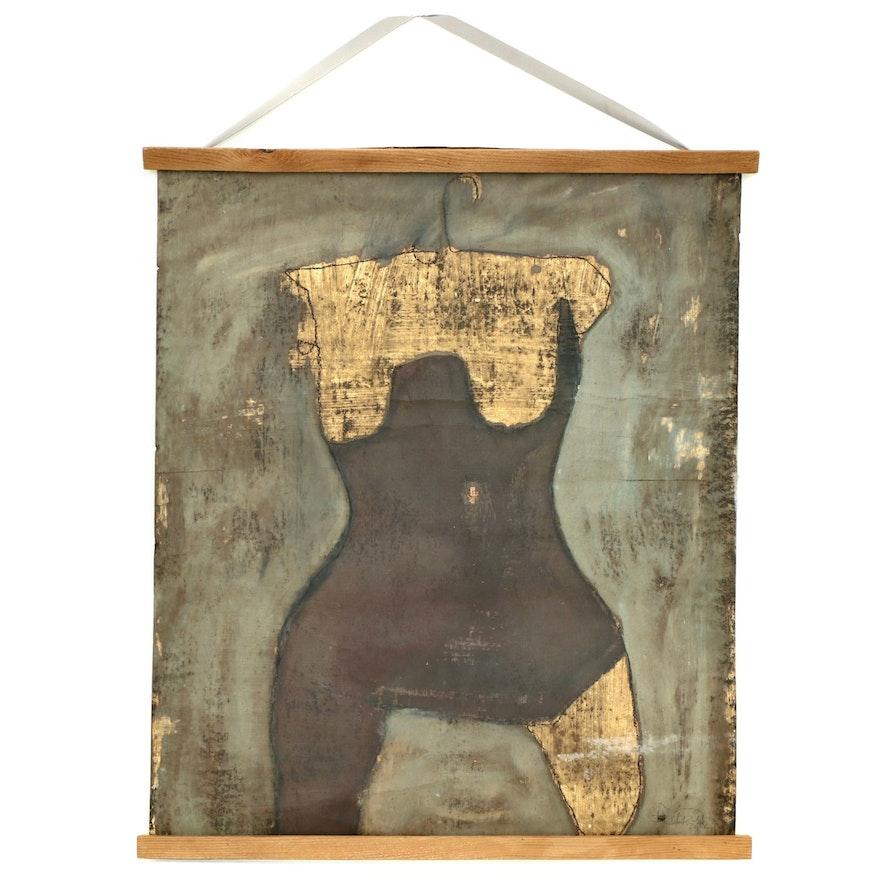 "Tara Bullington Charcoal and Acrylic Painting ""Ruby"""