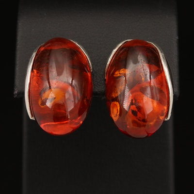 Sterling Silver Amber Earrings for Non Pierced Ears