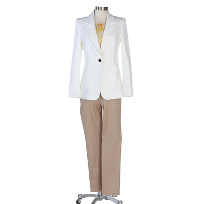 Escada White Jacket with Patterned Silk Blouse and Blush Pants with Gold Accents