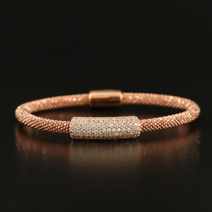 Sterling Silver Pavé Cubic Zirconia Bracelet