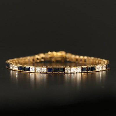 Sterling Silver Sapphire and Cubic Zirconia Line Bracelet