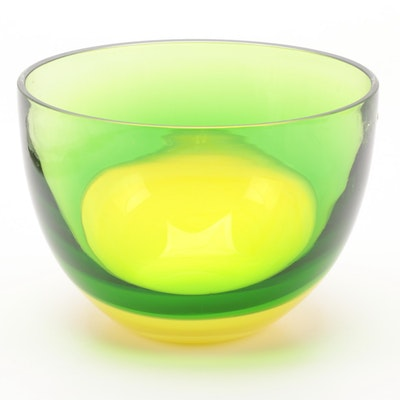 Green and Yellow Art Glass Centerpiece Bowl
