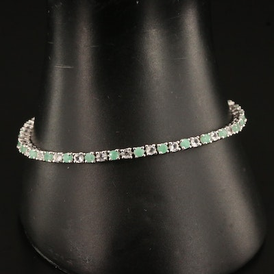 Sterling Silver Beryl and Topaz Line Bracelet