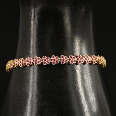 Sterling Silver Ruby Floral Motif Bracelet