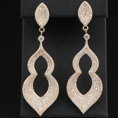 Sterling Cubic Zirconia Arabesque Dangle Earrings
