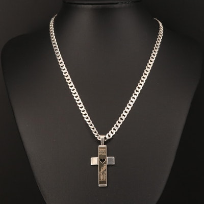 Roderick & Marilyn Tenorio for Carolyn Pollack Sterling and 14K Cross Necklace