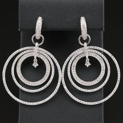 Sterling Cubic Zirconia Huggie Hoop Earrings with Hoop Enhancers