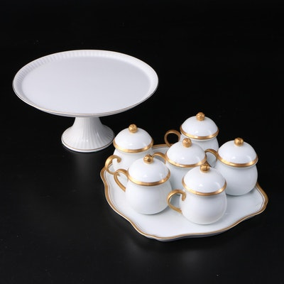 Japanese Shafford  Porcelain Cake Stand and Pots de Cremes with Gilt Trim