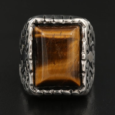 Tiger's Eye and Enamel Square Ring