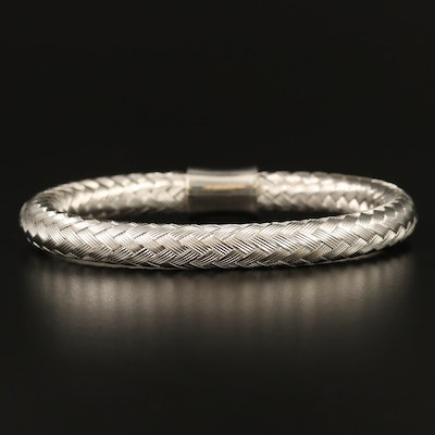 Flexible Woven Style Bangle with Sterling Clasp