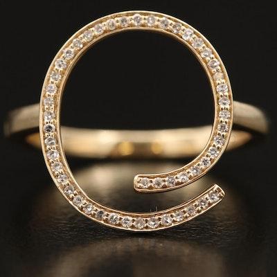 14K Diamond Minimalist Open Swirl Ring