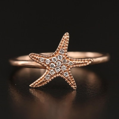 14K Rose Gold Diamond Starfish Ring