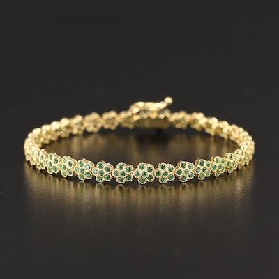 Sterling Silver Floral Cubic Zirconia Line Bracelet