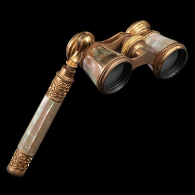 Brass and Mother of Pearl Opera Glasses, Early 20th Century