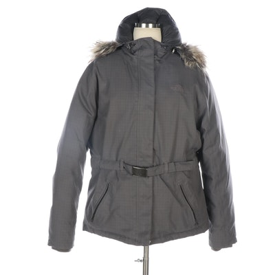 The North Face Gray Check Coat with Faux Fur Trim Hood