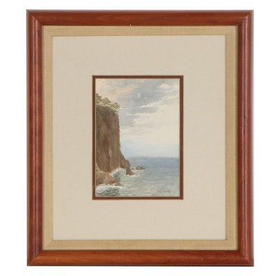 "William Stanley Haseltine Watercolor Painting ""Coast"""