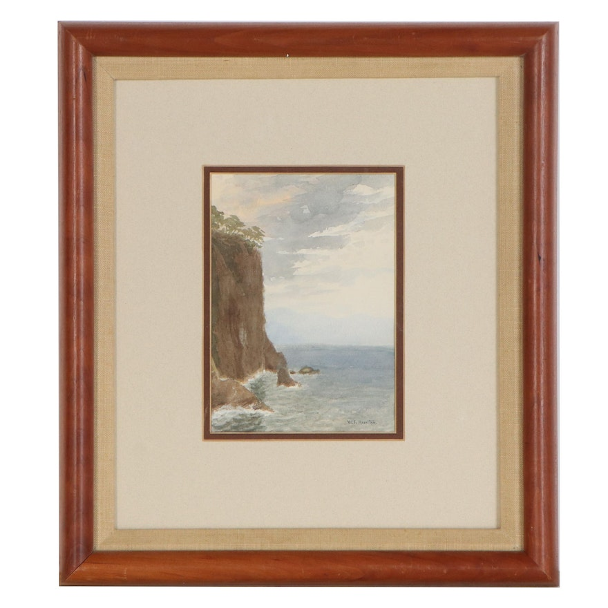 """William Stanley Haseltine Watercolor Painting """"Coast"""""""