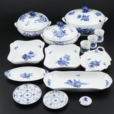 "Royal Copenhagen ""Blue Flowers Braided"" Serving Ware and ""Blue Fluted"" Plates"