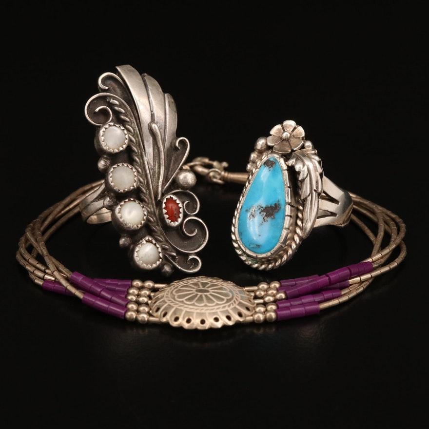 Southwestern Style Sterling Silver Rings and Bracelet Featuring Gemstone Accents