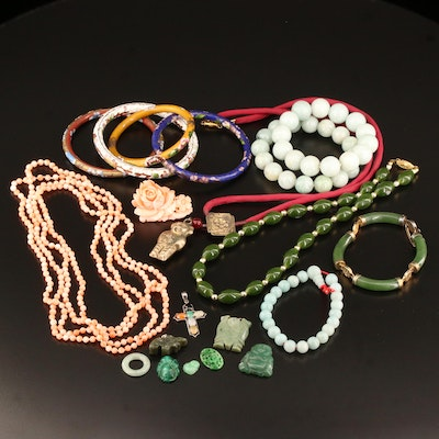 Collection of Jewelry Featuring Asian Motifs , Cloisonne, Jadeite and Coral