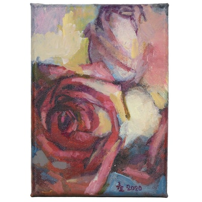 "Alexandra Zecevic Acrylic Painting ""Pink Rose Sketch"", 2020"