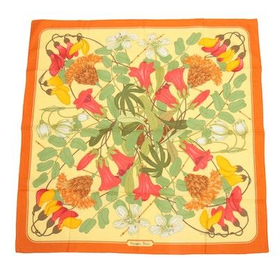 Hermès Paris Floral Patterned Cotton Scarf