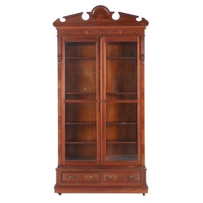 Victorian Walnut and Burl Walnut Bookcase, Late 19th Century