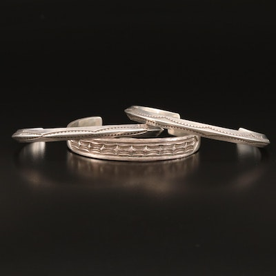 Navajo Diné Sterling Cuff Selection Featuring Ken and Mary Bill and Nora Tahe