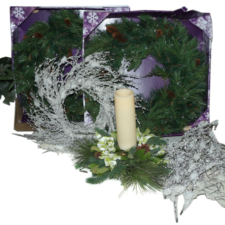 Frontgate And Pottery Barn Holiday Wreaths Candle Centerpiece Ebth