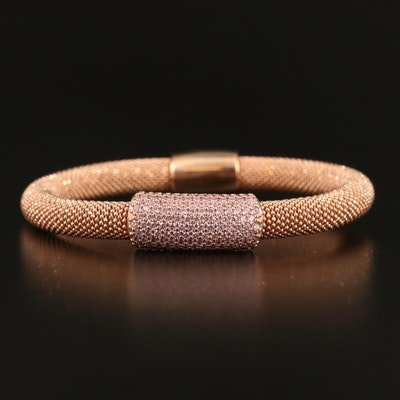 Sterling Cubic Zirconia Bar Popcorn Link Bracelet