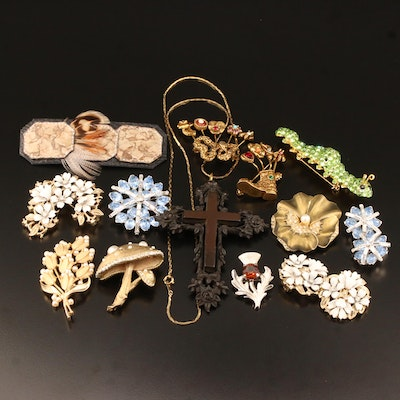 Costume Jewelry Selection Featuring Vulcanite, Rhinestones and Enamel