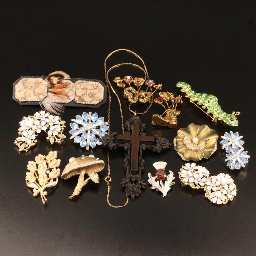 Costume Jewelry Selection Featuring Vulcanite, Rhinestones and Enamel