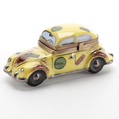 La Gloriette Hand-Painted Yellow Car Porcelain Limoges Box