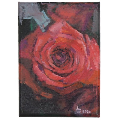 """Alexandra Zecevic Acrylic Painting """"Red Rose Sketch,"""" 2020"""