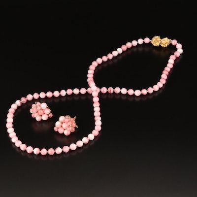 1961 Judith McCann Pink Glass Necklace and Wingback Earrings Set