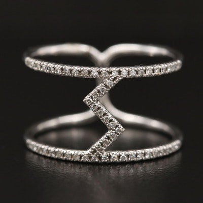 14K Diamond Double Band with Zig Zag Motif