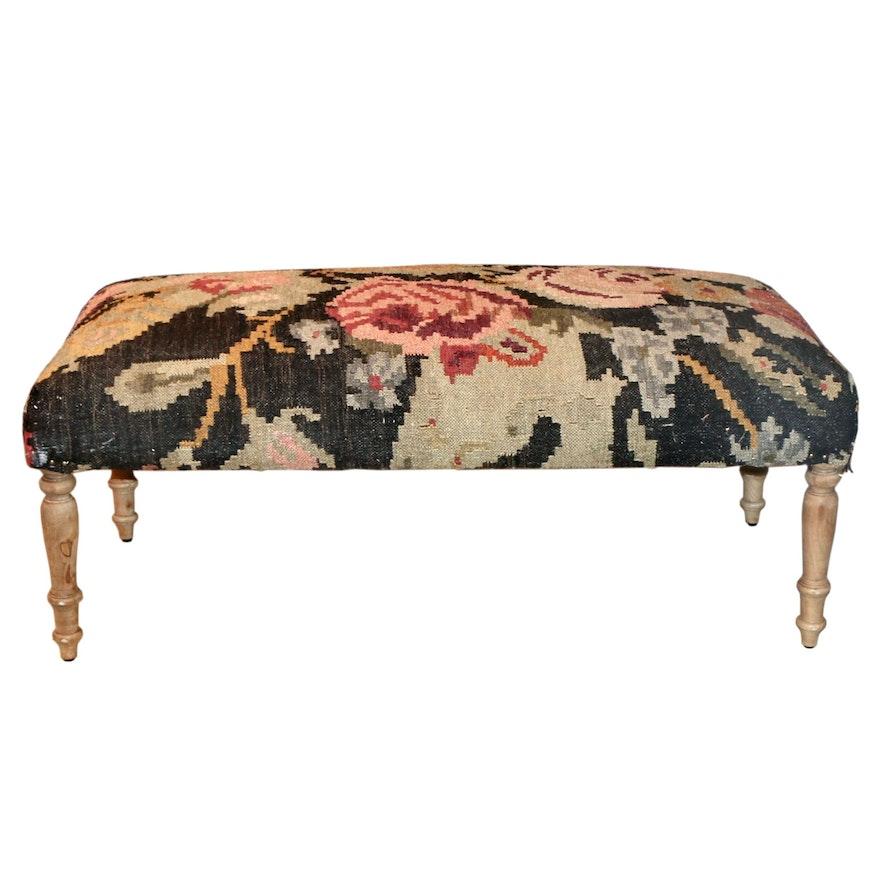 "Manglam Arts for Grandin Road ""Vera"" Kilim Upholstered Wood Bench"