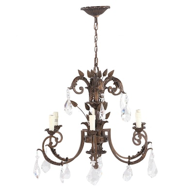 Acanthus Leaf and Scroll Design Six-Light Bronzed Metal and Crystal Chandelier