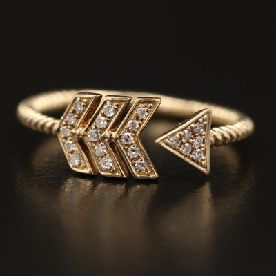 14K Diamond Open Shank, Wrap Around Arrow Ring