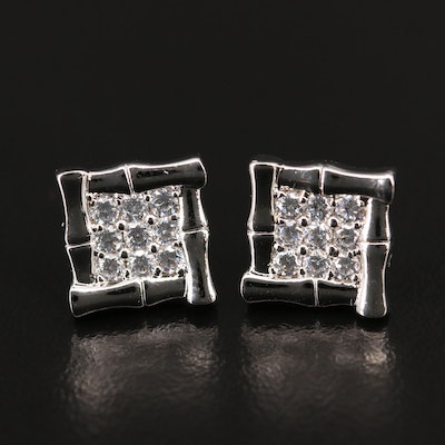 Sterling Silver Bamboo Framed Cubic Zirconia Stud Earrings