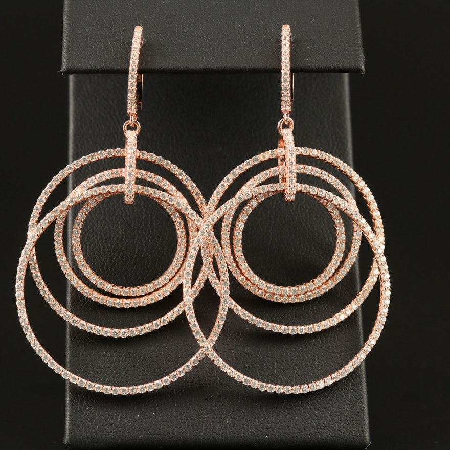 Sterling Silver Cubic Zirconia Concentric Dangle Earrings