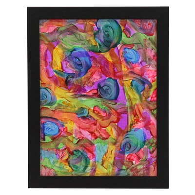 """Jimmie T. Abstract Acrylic Painting""""Whirling Thoughts"""""""
