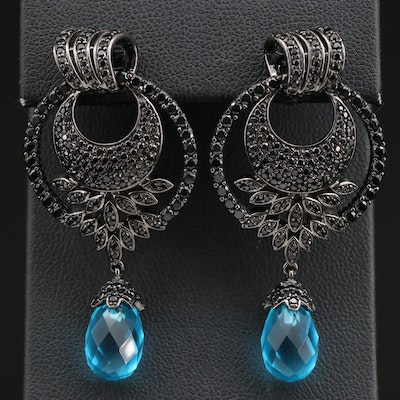 Sterling Briolette Cubic Zirconia Crescent Moon Oxidized Earrings