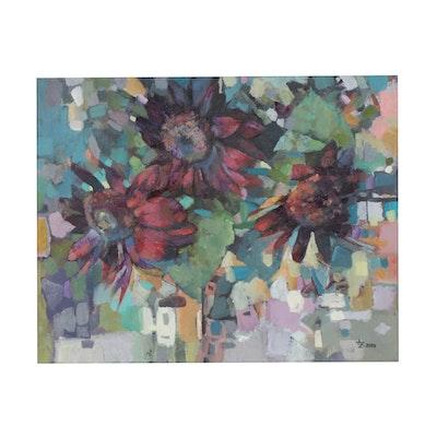 "Alexandra Zecevic Acrylic Painting ""Dark Sunflowers,"" 2020"