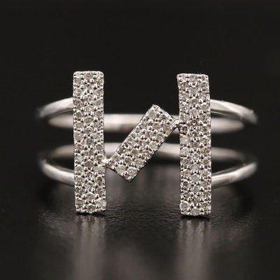14K Diamond Geometric Patterned Band with Split Shank