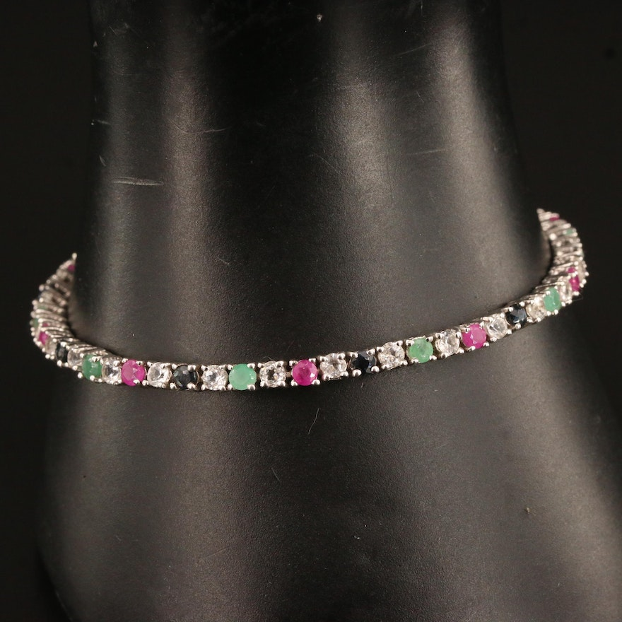 Sterling Silver Topaz, Ruby, Sapphire and Emerald Line Bracelet